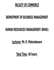 Human Resources Course Outline Presentation1