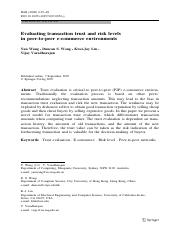 Evaluating transaction trust and risk levels in peer-to-peer e-commerce environment