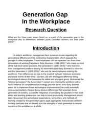 generation gap in the workforce essay generation gap in the  generation gap in the workforce essay generation gap in the workplace research question what are the three main issues faced as a result of the