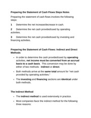 Preparing the Statement of Cash Flows Steps Notes