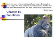 Chapter 14 - Functions and Program Structure (1)