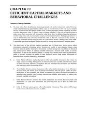 Solutions-  Chapter 13 Efficient Capital Markets and Behavioral Challenges
