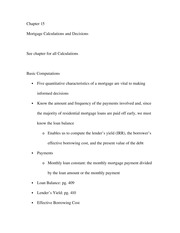 Chapter 15 - Mortgage Calculations and Decisions Exam guide