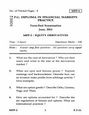 (www.entrance-exam.net)-IGNOU Post Graduate Diploma in Financial Markets Practice-Equity Derivatives
