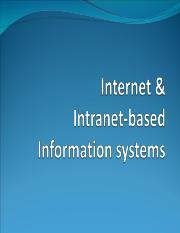 Lecture 5 Internet  Intranet-Based Information Systems