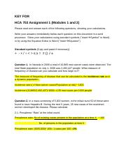 HCA702 Key for Assignment REVISED (3)