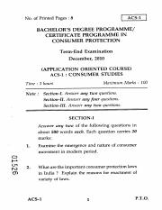 (www.entrance-exam.net)-IGNOU Certificate Programme in Consumer Protection- Consumer Studies Sample