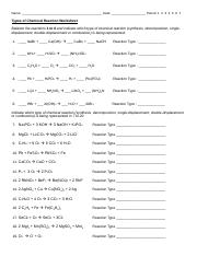Types Of Reactions Worksheet Answers