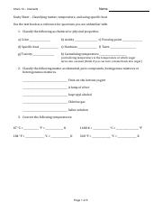 03 Chem 10 Classifying, temperature and specific heat study sheet