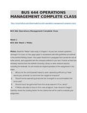BUS 644 OPERATIONS MANAGEMENT COMPLETE CLASS