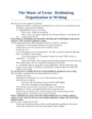 The Music of Form_ Rethinking Organization in Writing
