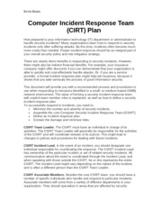 Project Part 2 Task 4 Computer Incident Response Team (CIRT) Plan