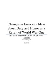 Changes in European Ideas about Duty and Honor as a Result of World War One