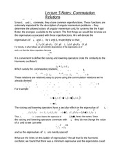 Lecture 5 Notes Commutation Relations