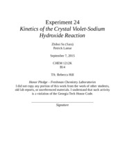 an experiment analyzing the reaction of crystal violet with sodium hydroxide View lab report - lab 24 from chem 1212 at georgia tech experiment 24:  kinetics of the crystal violet-sodium hydroxide reaction joy thompson partner: .
