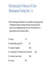 Role Playing Exercise on Mammogram Testing (Sect 2)