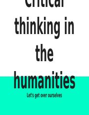 Critical thinking in the Humanities sept