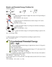 Printables Worksheet Kinetic And Potential Energy Problems kinetic and potential energy problem set g how high from the ground is the