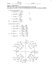 Unit Circle Worksheet Solutions