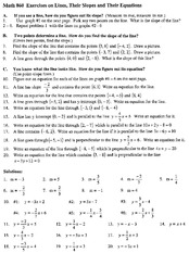 Math 860 Exercises on Lines page 1 of 2