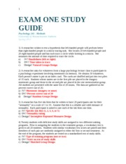 Methods – Exam One guide
