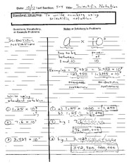 ALGEBRA 5-4 (Day 1 Notes) Scientific Notation