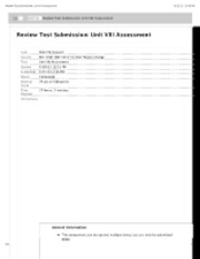Review Test Submission: Unit VIII Assessment