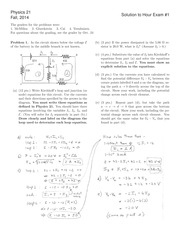 PHYSICS 21 Fall 2014 Midterm 1 Solutions