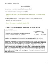 LECTURE NOTES - Ch. 9 Inventory