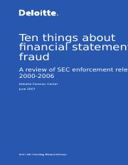 10 Things about Financial Statement Fraud