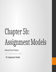 CHAPTER 5b - Assignment Models