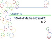 Chapter 15a Global Marketing and R&D