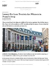 Luxury For Less- Tourists Are Winners i...und's Drop  News & Analysis  BoF