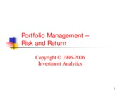 Portfolio Management -  Risk and Return