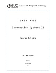 GUC IS II - 2010 2011 spring -Course Outline