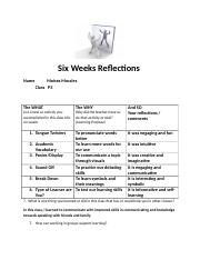 Six Weeks Reflections