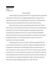Response Paper #7, Emotional Appeals and War Rhetoric