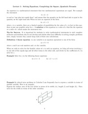 Lecture 5, Solving Equations