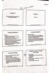 Concepts of Health Ilness and Stess Notes