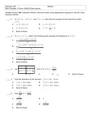 Calc Test 3 Derivatives 0910A