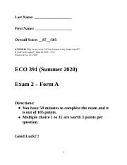 2.4. 2nd Exam - 2020 Sum (Q&A) (Form A) (With Answers in the Back (Bold)) (Will be #4 Canvas) (ZISHE