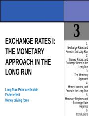 CHAPTER 3 EXCHANGE RATES I THE MONETARY APPROACH IN THE LONG RUN.ppt