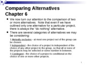 Chapter 6 Comparing Alternatives