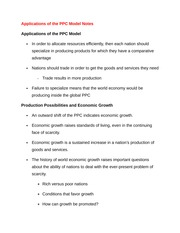 Applications of the PPC Model Notes