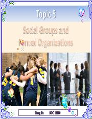 Topic 5 Social Groups and Formal Organizations