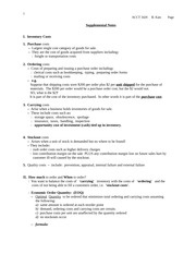 2014 FALL  Inventory  Supplemental Notes handouts for class