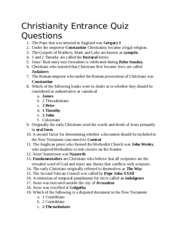 Christianity Entrance Quiz Questions