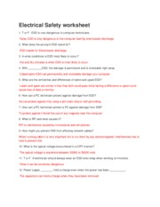 Electrical Safety worksheet