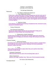 Families in Late Adulthood Lecture Notes 2-4
