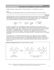 CHM12  Experiment 6 Determination of the Equilibrium Constant for Bromocresol Green